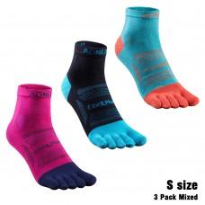 Aonijie E4802 運動五趾襪 - 中筒 (3對裝/混色) 跑步|越野|登山|戶外遠足