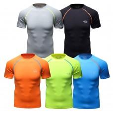 CLSL Black Men Short Sleeve Compression Shirt Sportwear