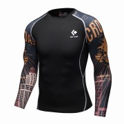 Cody Lundin CT104黑底金色骷髏頭|男裝長袖緊身衣|運動服裝|健身壓力衣