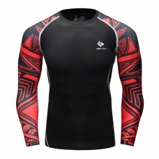 Cody Lundin CT105黑底紅色幾何|男裝長袖緊身衣|運動服裝|健身壓力衣