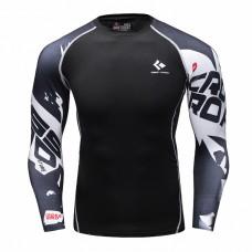 Cody Lundin CT106黑底文字幾何|男裝長袖緊身衣|運動服裝|健身壓力衣