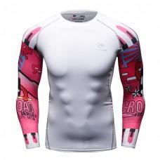 Cody Lundin CT107白底粉紅文字 男裝長袖緊身衣 運動服裝 健身壓力衣