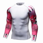 Cody Lundin CT107 White Pink Word|Men Long-Sleeve Compression Shirt|Sportwear