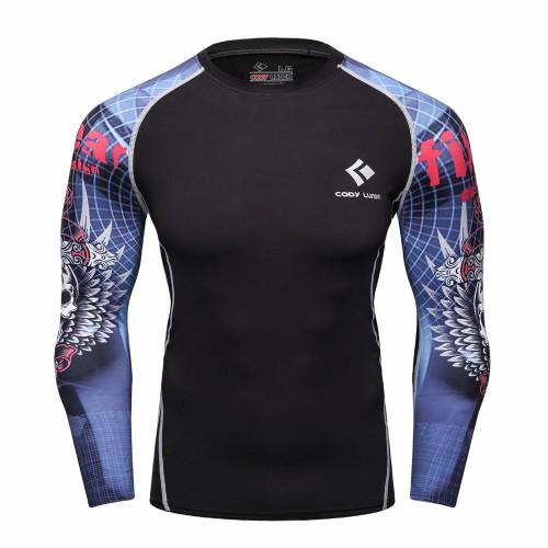 Cody Lundin CT117黑底藍色骷髏頭|男裝長袖緊身衣|運動服裝|健身壓力衣