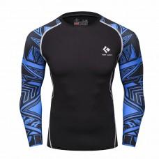 Cody Lundin CT119黑底藍色圖騰|男裝長袖緊身衣|運動服裝|健身壓力衣