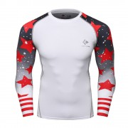 Cody Lundin CT120 White Red Star|Men Long-Sleeve Compression Shirt|Sportwear