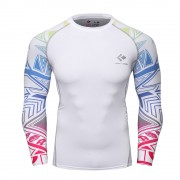 Cody Lundin CT121 White Red Star|Men Long-Sleeve Compression Shirt|Sportwear