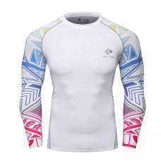 Cody Lundin CT121白底紅色星星|男裝長袖緊身衣|運動服裝|健身壓力衣