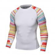 Cody Lundin CT122白底彩虹|男裝長袖緊身衣|運動服裝|健身壓力衣