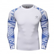 Cody Lundin CT124白底藍色圖騰|男裝長袖緊身衣|運動服裝|健身壓力衣