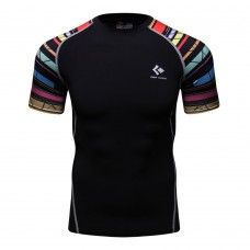 Cody Lundin CT131黑底彩虹短|男裝短袖緊身衣|運動服裝|健身壓力衣