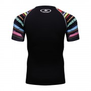 Cody Lundin CT131黑底彩虹短 男裝短袖緊身衣 運動服裝 健身壓力衣