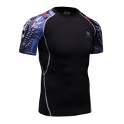 Cody Lundin CT132黑底紅藍色骷髏頭 男裝短袖緊身衣 運動服裝 健身壓力衣