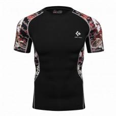 Cody Lundin CT147黑底紅色骷髏頭|男裝短袖緊身衣|運動服裝|健身壓力衣