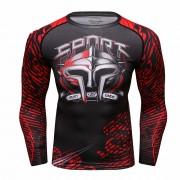 Cody Lundin CT231紅色斯巴達 男裝長袖緊身衣 運動服裝 健身壓力衣