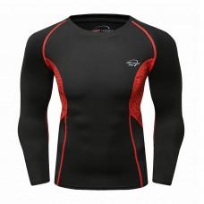 Cody Lundin CT238黑底紅色長袖|男裝長袖緊身衣|運動服裝|健身壓力衣