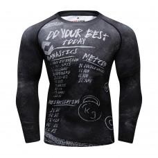 Cody Lundin CT368 黑底粉筆字 男裝長袖緊身衣 運動服裝 健身壓力衣