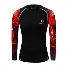 Cody Lundin WCT27黑底紅色花朵|女裝長袖壓力衣|運動服裝|瑜珈緊身衣