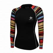 Cody Lundin WCT29黑底彩虹 女裝長袖壓力衣 運動服裝 瑜珈緊身衣